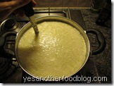 Take off the heat and stir gently to collect more curds